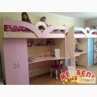 Детская кровать-чердак с рабочей зоной, шкафом и лестницей-комодом (кл18) Merabel