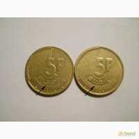 Бельгия-5 франков (2 разных)