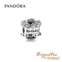 Оригинал Pandora шарм с днем рождения торт 791289