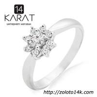 Золотое кольцо с бриллиантами 0, 26 карат 17 мм. Белое золото. НОВОЕ (Код: 14444)