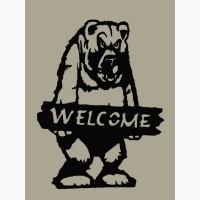 "Декоративная табличка Медведь "" WELKOME"" 750x560 mm"