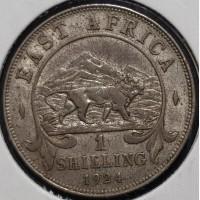 Британская Восточная Африка 1 шиллинг 1924 год СЕРЕБРО
