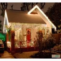 Новогоднее световое оформление, украшение фасадов домов, оформление зданий гирляндами