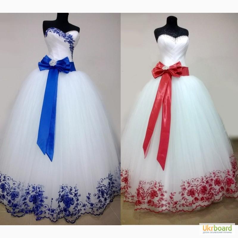 Свадебные платья с цветной вышивкой