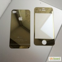 Зеркальные защитные стекла на iPhone4/4S