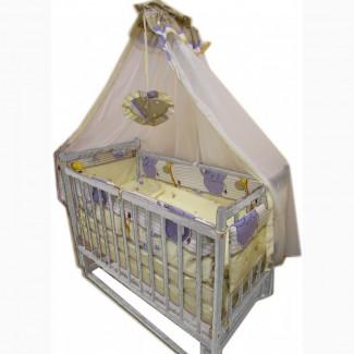 Акция! Комплект Ласка Эко: кроватка маятник, матрас кокоc, постель 8 элементов
