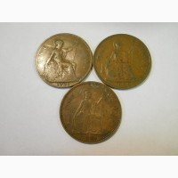 Великобритания-1 пенни (3 разные)