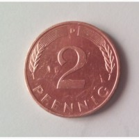 Монета.Страна Германия, 2 пфеннига, 1991