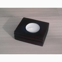 Подсвечник деревянный черный лофт