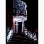 Новогоднее украшение, оформление дома, оформление зданий гирляндами, новогоднее освещение