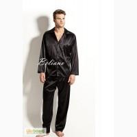 Мужская пижама из шелка, шелковая мужская пижама серая, синяя, черная, бежевая, бордовая