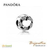 Оригинал PANDORA шарм сердце в лентах 791976CZ