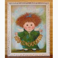 Картина маслом копия Чувиляевой Ангел с бубликами