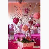 Украшение свадебного зала, оформление свадьбы цветами, тканями, флористика и декор