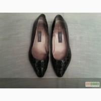 Кожаные коричневые туфли лакированные под крокодиловую кожу 37 р, б/у