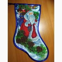 Новогодний сапожек бисером, Новорічний чобіток вишитий бісером
