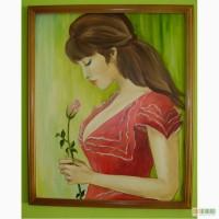 Картина маслом Девушка срозой 40х50