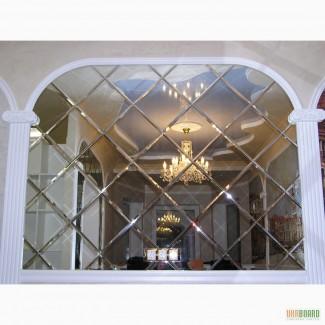 Зеркальная плитка, зеркальное панно с дисперсией фацета в интерьере