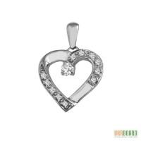 Золотой кулон сердце с бриллиантами 0,30 карат. НОВЫЙ (Код: 14601)