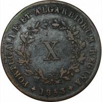 Португалия 10 рейс 1853 г ОЧЕНЬ РЕДКАЯ!!! тираж 46000