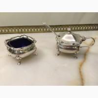 Антикварный серебряный набор: солонка и горчичница с кобальтовыми вставками