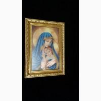 Картина Мадонна с младенцем ручная робота, чешский бисер