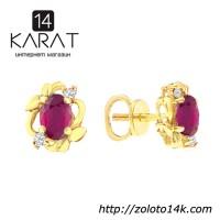 Золотые гвоздики с рубинами и бриллиантами 0, 06 карат. Желтое золото. НОВЫЕ (Код: 15782)