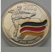 Либерия 5 долларов 2003 год + сертификат. ФУТБОЛ
