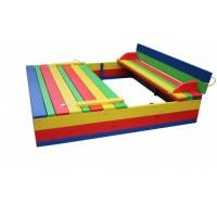 Песочница с крышкой цветная 140х140 (добротная)