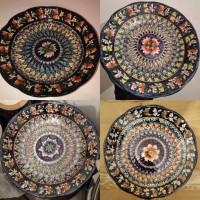 Тарелка узбекская плоская ручная роспись Ляган мехроб с рифлеными краями Тарілка ручна