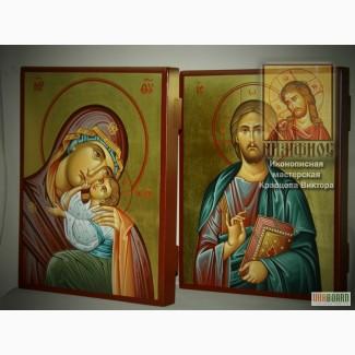 Венчальная пара. Рукописные иконы Божией Матери «Гликофилусса» и Иисуса Христа.