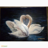 Картина масло холст Лебеди