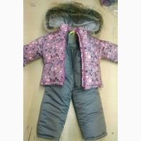 Зимний теплый костюм комбинезон для девочки 80-120 см рост