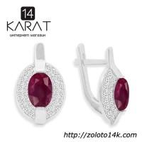 НОВЫЕ серебряные серьги с натуральными рубинами 2, 00 карат (Код: с1018)