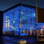 Уличные светодиодные гирлянды Киев, новогоднее оформление фасада, дома гирляндами