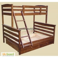 Двухъярусная трехместная кровать из массива бука Арина