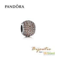 Оригинал Pandora шарм коричневый шар паве 791051BCZ