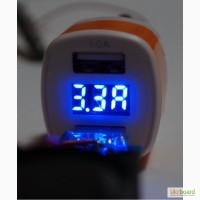 Мощная Автомобильная зарядка 3.3А. Амперметр, вольтметр на два USB выхода