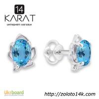Золотые серьги пусеты с голубыми топазами и бриллиантами 0, 04 карат. НОВЫЕ (Код: 18889)
