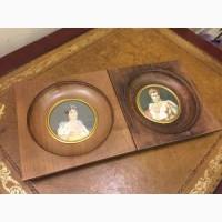 Антикварные парные миниатюры- Наполеон и Жозефина