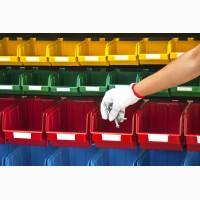Стеллажи с пластиковыми ящиками для метизов в Киеве - для СТО, гаража, производства, в цех