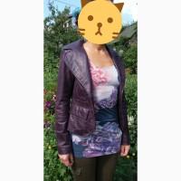 Продам кожаную куртку тёмно-свекольного цвета 40-42 р-р
