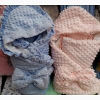 Детский демисезонный велюровый конверт - одеяло на выписку, цвета разные