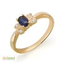 Кольцо с натуральными сапфиром и бриллиантами 0,03 карат. Желтое золото. НОВОЕ!