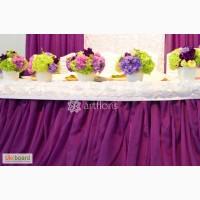 Оформление свадебного зала, украшение цветами и декором.