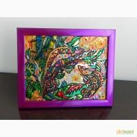 Витражная картина Хамелеоны в тропиках