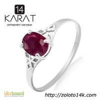 Золотое кольцо с натуральный рубином 0, 60 карат 16, 5 мм. Белое золото. НОВОЕ Код: 17728)