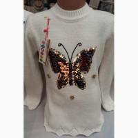 Свитшот с пайетками Бабочка, Турция, для девочек 4-8 лет