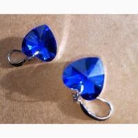 Серьги Swarovski кристалл синее сердце