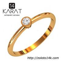 Золотое кольцо с бриллиантом 0, 08 карат 17, 5 мм Кольцо для предложения Желтое золото Новое